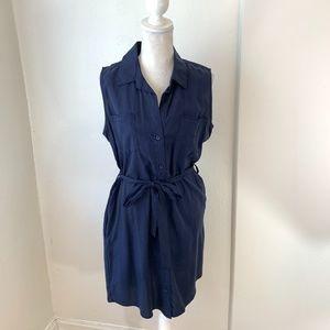 Velvet Heart Navy Sleeveless Shirt Dress Sz S {KC}